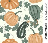 Seamless Pattern With Pumpkins ...