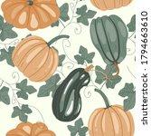 Seamless Pattern With Pumpkins ...