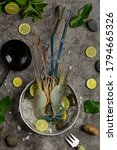 Large fresh river prawns ready to cook Decorated with beautiful side dishes.