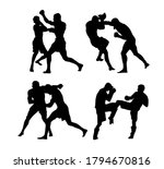 silhouettes of mma fighters... | Shutterstock .eps vector #1794670816