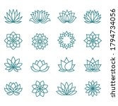 lotus line icon set on a white... | Shutterstock .eps vector #1794734056