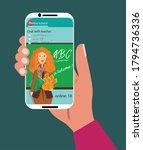 online school. hand with... | Shutterstock .eps vector #1794736336