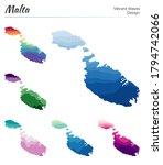 set of vector maps of malta.... | Shutterstock .eps vector #1794742066