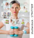 woman doing exercise with... | Shutterstock . vector #179477309