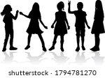 black silhouette of children on ...   Shutterstock . vector #1794781270
