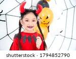 Pretty Asian Girl In Red Devil...