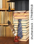 Small photo of Unusual joky parody. Student with quill in library