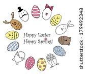 doodle happy easter background | Shutterstock .eps vector #179492348