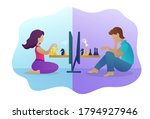 people playing chess online... | Shutterstock .eps vector #1794927946