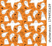 cute white ghosts on an orange... | Shutterstock .eps vector #1794931639
