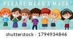 kids wearing mask template... | Shutterstock .eps vector #1794934846
