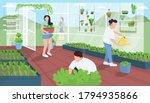 gardeners in greenhouse flat... | Shutterstock .eps vector #1794935866