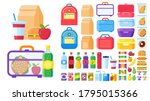 lunch box constructor. food for ... | Shutterstock .eps vector #1795015366