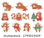 cute ox. color bulls chinese... | Shutterstock .eps vector #1795015429