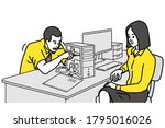 male office worker examining... | Shutterstock .eps vector #1795016026