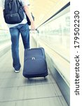traveler with a suitcase on the ... | Shutterstock . vector #179502230