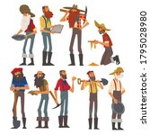 male prospectors characters set ...   Shutterstock .eps vector #1795028980