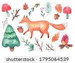 clipart  fox and forest  fly...   Shutterstock .eps vector #1795064539