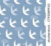 seamless pattern  birds  clouds ... | Shutterstock .eps vector #1795089910
