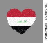 Iraq Heart Shape Flag Grunge...