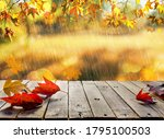 wooden table with orange leaves ...   Shutterstock . vector #1795100503