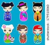 vector set n 3 of cute kokeshi... | Shutterstock .eps vector #179510060