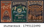 set of color vintage posters on ... | Shutterstock .eps vector #1795122490
