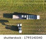 Hay Bale Loading Aerial Photo....