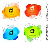black house with heart inside...   Shutterstock .eps vector #1795196740