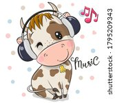 Cute Cartoon Bull With...