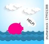 paper pig bank drowning  ...   Shutterstock .eps vector #179521388