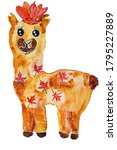 Lama With Autumn Leaves On His...