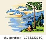 sketch landscape a pine tree... | Shutterstock .eps vector #1795233160
