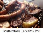 barbecue filet steak sausage... | Shutterstock . vector #1795242490