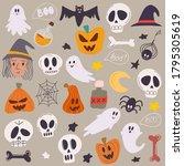 happy halloween concept. set of ... | Shutterstock .eps vector #1795305619