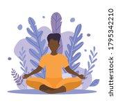 a black man is doing yoga.... | Shutterstock .eps vector #1795342210