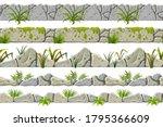 set of seamless old gray border ...   Shutterstock .eps vector #1795366609