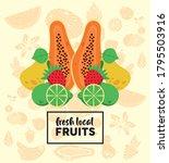 fresh local fruits lettering...   Shutterstock .eps vector #1795503916