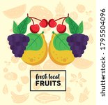 fresh local fruits lettering...   Shutterstock .eps vector #1795504096