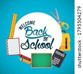 back to school poster with...   Shutterstock .eps vector #1795504279