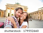 Stock photo happy couple selfie selfportrait in front of brandenburg gate or brandenburger tor berlin germany 179552660