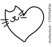 Doodling Cat In The Heart Shape....