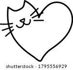 doodling cat in the heart shape.... | Shutterstock .eps vector #1795556929