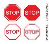 red stop vector sign.... | Shutterstock .eps vector #1795610980