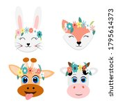 set of animal faces vector... | Shutterstock .eps vector #1795614373