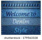 blue denim texture with sewing  ... | Shutterstock .eps vector #179563328
