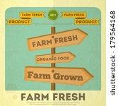 Farm Organic Food Poster. Retr...