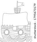funny cartoon ship coloring... | Shutterstock .eps vector #1795673179