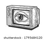 tv with an eye on the screen... | Shutterstock .eps vector #1795684120