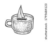 sailing yacht in a cup sketch...   Shutterstock .eps vector #1795684123
